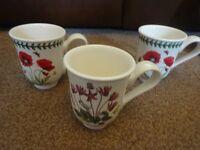 New 3 Portmeirion Mugs Botanic Garden Cyclamen Poppy and Hydrangea ideal wedding gift present £7