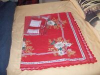 table cloth and matching napkins will give discount if buy three items or more.