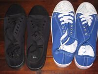 2 BRAND NEW PAIRS (BLACK & BLUE) OF LADIES CANVAS LACE-UP PUMPS / CASUAL SHOES (SIZE 8) RRP £20
