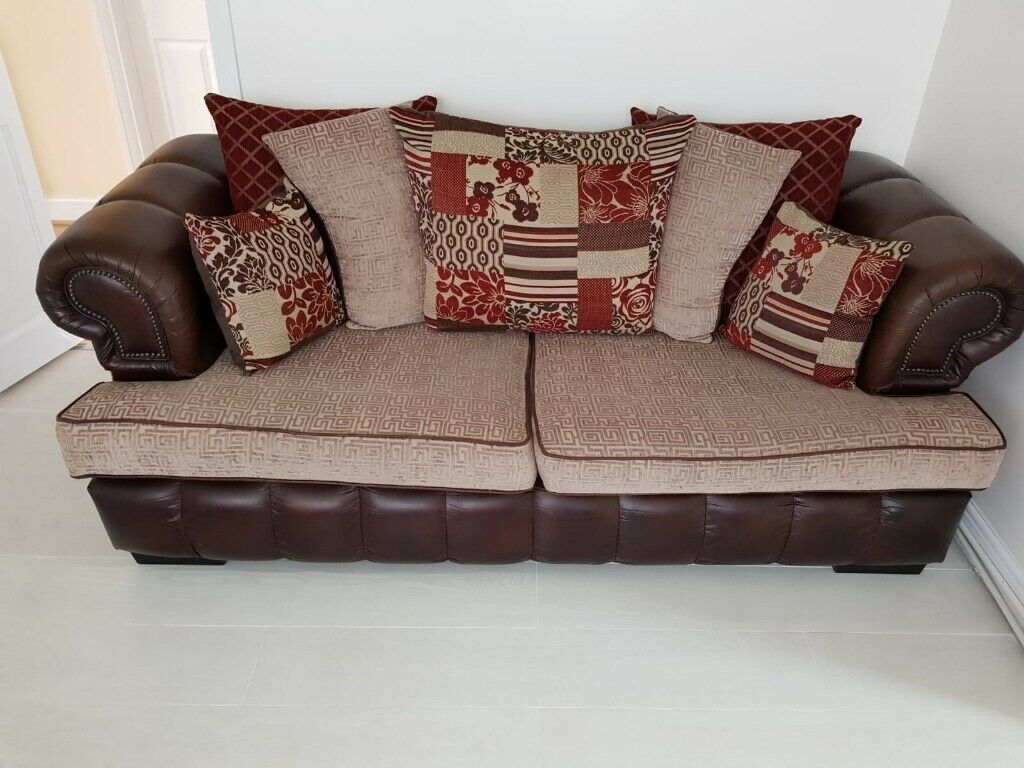 USED SCS 3 SEATER LEATHER & FABRIC SOFA BROWN/BEIGE/RED | in Wombourne,  West Midlands | Gumtree