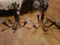 2 x shabby chic black iron light fittings 15 pound for the pair