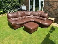 Brown leather corner with matching footstool can deliver
