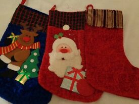 Christmas Stockings Three Large Size One Santa One Reindeer One Red Plush