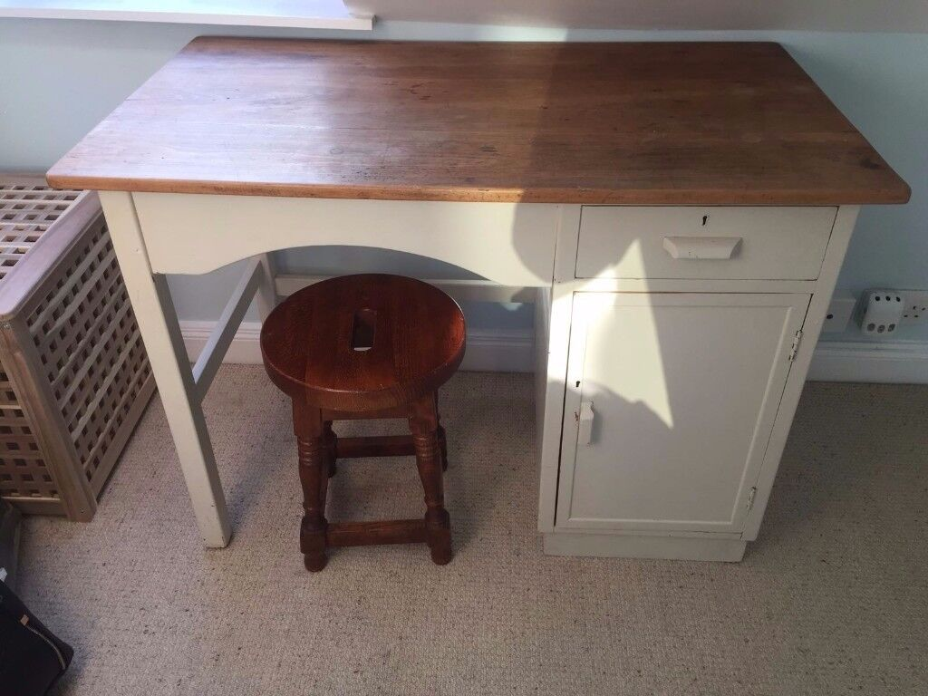 QUICK SALE Small wooden desk and wooden stool