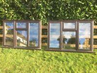 TWO DOUBLE GLAZED TIMBER WINDOWS