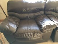 Brown leather 2 seater sofa and 2 chairs