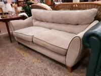 Large grey fabric high backed 2 seater sofa
