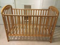 Mamas and Papas cot, with cot-top changing tray