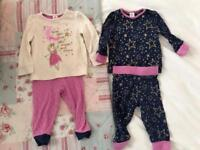 Baby Girls 9/12 Months Pyjamas X 5 Pairs Excellent Condition!