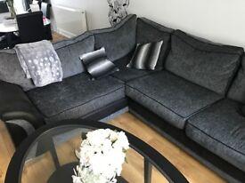Silver/Grey Fabric 5 seater sofa