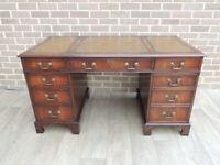 Stylish Unique 3 part Twin Pedestal Desk (UK Delivery)