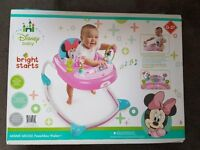 Pink Baby Walker Disney Minnie Mouse Car w/ Toy Tray & Lights and Sounds LIKE NEW USED 2 TIMES