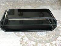 Techlink Ovid Black Gloss TV Stand Unit with Glass Shelf
