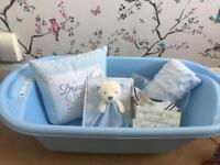 Baby boy Hamper BRAND NEW, bath, toy, milestone cards, blanket, outfit