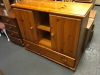 PINE CUPBOARD WITH SHELVES AND BOTTOM DRAWER