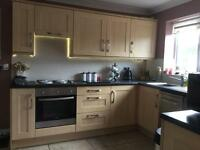 Complete fitted kitchen, with oven,hob and extractor fan