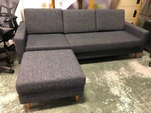 Grey Fabric Couch with Ottoman - $299