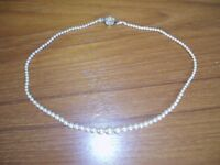 Vintage Faux Pearl Necklace with Decorative Clasp - Never Worn in Box