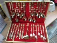 3 sets of gold plated cutlery £15