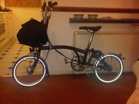 Brompton Folding M3L bike for sale in black, with enhancements & accessories
