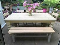 Solid 6ft farmhouse dining table 5 chairs and bench shabby chic