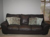 3 seater dark brown leather sofa and armchair