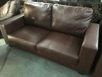 2 matching brown leather 2 seater sofas
