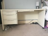 Solid Wood Desk with 3 Drawers - Cream