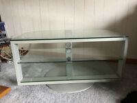 Quality Rotating 3 glass shelf television / DVD / music stand