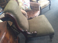 Superb Antique Victorian Mahogany Gentleman's Library/Smokers Armchair