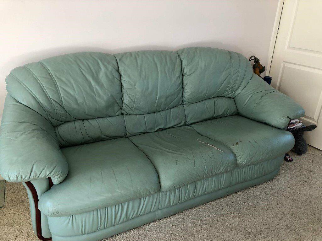 Super Mint Green Leather Sofa In Oakwood Derbyshire Gumtree Machost Co Dining Chair Design Ideas Machostcouk
