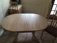 4 chairs and adjustable dining table