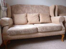 2 seater sofa and 2 armchairs very good condition, peach fabric, £150 ONO (originally £2,700)