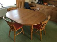 Pine dinning table and 4 chairs