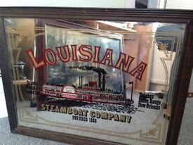 Vintage Steamboat Advertising / Pub Framed Picture Mirror