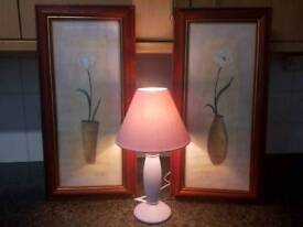 2 pictures and lamp
