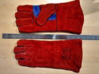 NEW - Thick leather fireplace or welding gloves (1 pair) (gauntlet)