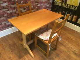 EXCELLENT QUALITY PINE TABLE WITH TWO CHAIRS