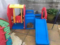 Children's slide and swing set