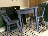 Hand Painted Dining Table plus Two Chairs, and Corner Unit