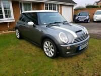 BMW MINI COOPER S SUPERCHARGED 2003 BLACK LEATHER GREY white roof and twin sunroof white strips