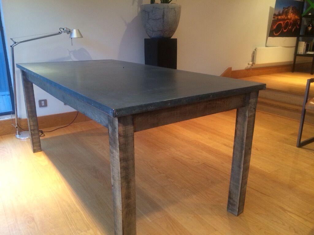Zinc Topped Dining Table 180cm By 93cm In Hoxton London