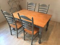Selling a set of dinner table and 4 chairs.