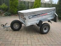 Erde 122 trailer with spare wheel and flat cover.