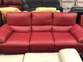 High retail red leather 3 seater sofa and matching chair