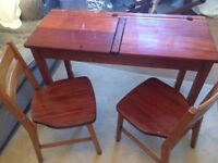 Twin School Desk with chairs vintage