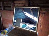 Rectangular wall mirror in mottled gilt effect frame