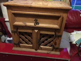 SOLD. Mexican pine cupboard decorative lattice doors