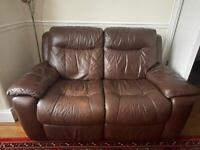 1 and 2 seater sofa leather