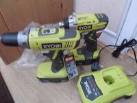 Ryobi LLCDI1802 ONE+ 18V Hammer Drill & RID1801 ONE+ 18V Impact Driver Twin Set
